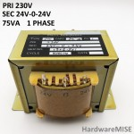 Chassis Mounting Power Transformer Adaptor 230V 24v-0-24v 75VA Single Phase