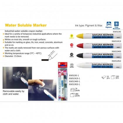Sakura Water Soluble Marker Crayons WSC for Metal Wood PVC Yellow Red Black White WXC#3 WXC#19 WXC#49 WXC#50