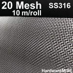 Stainless Steel Wire Mesh SS 316 Mosquito Netting 20 mesh 1m x 10m