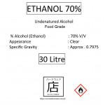 Ethanol 70% Sanitizer Food Grade Undenatured Ethyl Alcohol Potable Alcohol Disinfectant 消毒 乙醇 30 Litre Malaysia Supplier