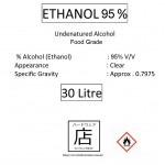 Ethanol 95% Sanitizer Food Grade Undenatured Ethyl Alcohol Potable Alcohol Disinfectant 消毒 乙醇 30 Litre Malaysia Supplier