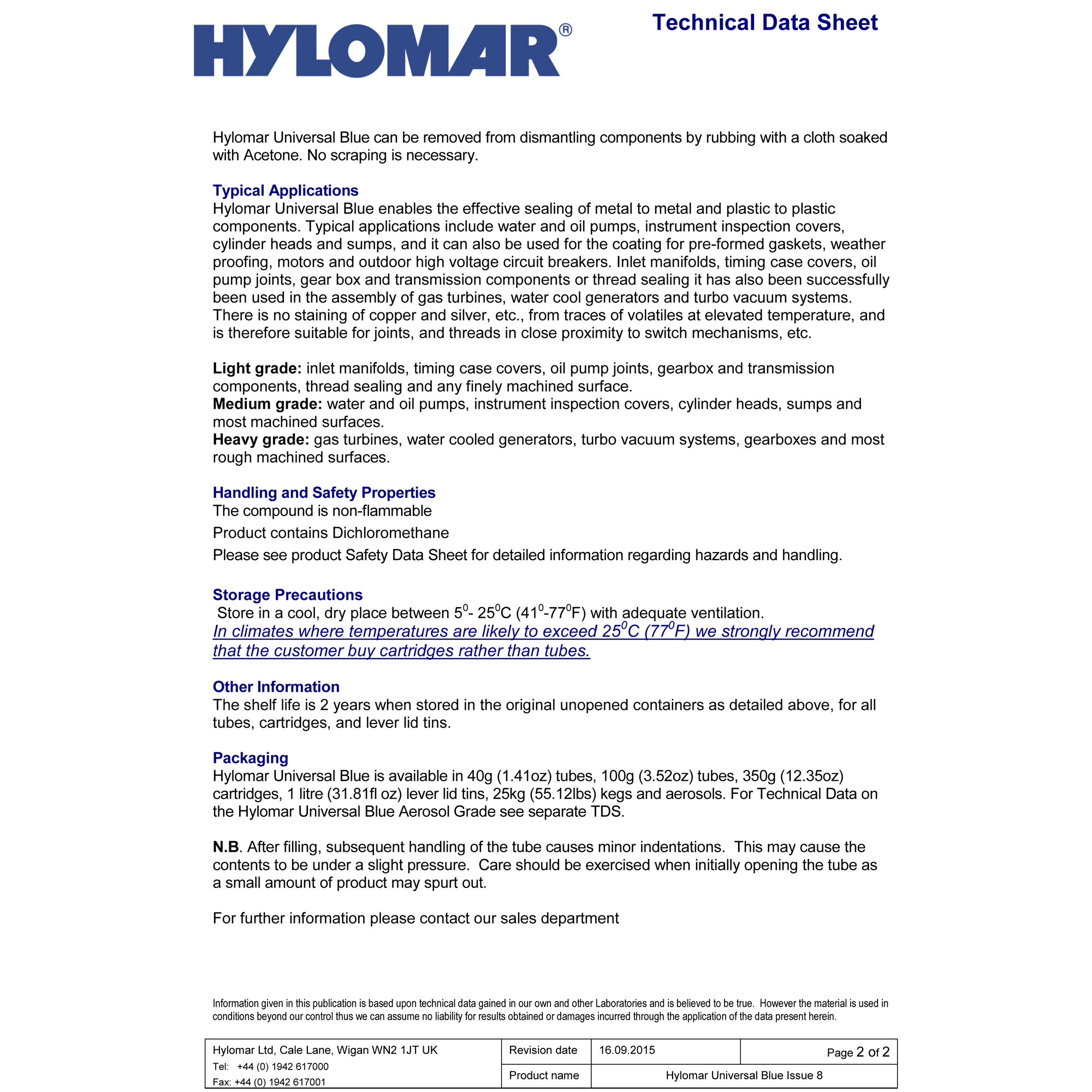 Hylomar Universal Blue Non-setting gasket compound (100g / 3 52 oz